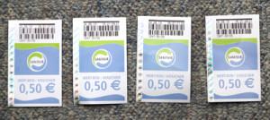 トイレの使用料を払うともらえる金券(0.5ユーロ)