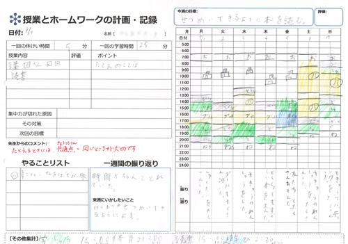 『ホームワーク・授業の計画と記録授業の記録』