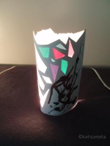 細川紙を使った灯り 作・勝又洋子 (実際にワークショップ制作するものとは異なります。)