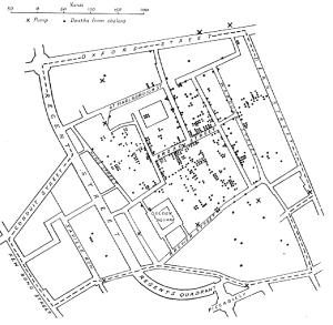 ジョン・スノウの調査結果。中央の井戸(✕印)を中心に感染者が拡がっている。(クリックで拡大)