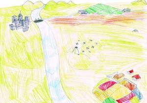 「大きくなったうさぎ」を書くために、T君の考えた地図 。右上にあるのが、うさぎの巣穴。右下にあるのが、農場。ウサギは、農場から左上にある町に向かって旅に出た。