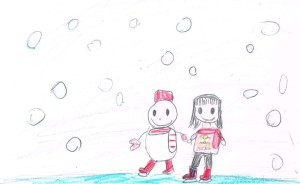 雪の日のおくりものイラスト3