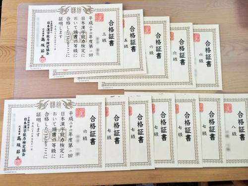 教室を会場として実施している漢字検定の合格証書